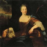 ritratto di dama con cagnolino by giovanni maria delle piane