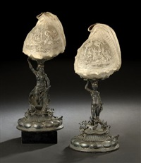 diana and her hounds table lamp (+ neptune in his chariot table lamp; pair) by neresheimer