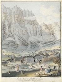 vue des bains de loéche en valais by abraham samuel fischer