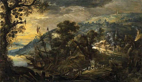 landscape with shipyard by kerstiaen de keuninck