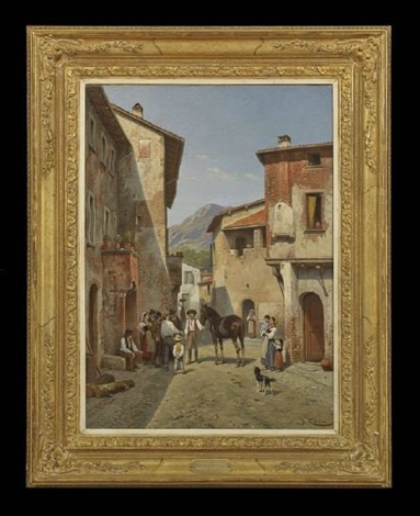 italian village scene by jacques françois carabain