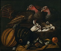 still life with two turkeys, pidgeons, pumpkins and figs by jacob van der kerckhoven