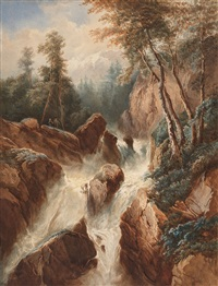 landscape with a mountain stream by johann wilhelm schirmer
