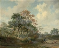 hunters with their dogs by hendrik van de sande bakhuyzen