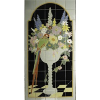 cuenca tiles with parrot and flowers (in 51 parts) by claycraft potteries