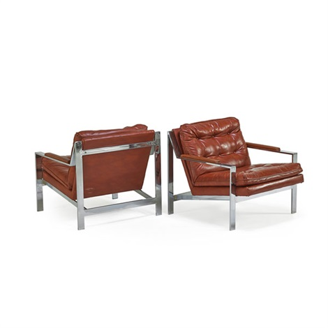 Angle Bar Lounge Chairs (pair) By Milo Baughman