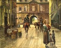 städtisches treiben am berger tor in düsseldorf by theodor lindner