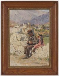 jeune garçon partageant sa pomme avec une filette dans un paysage by henri van muyden