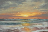 florida highwaymen beach sunset scene by harold newton