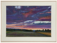 fields at sunset by charles basham