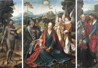 heilige familie und zwei musizierende engeln by master of the antwerp adoration