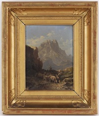 berger et ses moutons dans une paysage de montagne et personnages et voilier sur la plage (pair) by emile godchaux