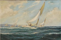 yacht racing off the coast by david roy macgregor