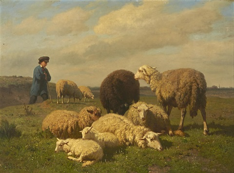 A Shepherd Tending His Sheep By Louis Robbe