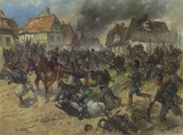 Krieg, Herbst 1870. Bayrische Infantrie im Gefecht mit Franzosen Turkos by Fritz ...