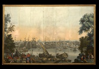 boston harbor (from vues d'amerique du nord wallpaper panels) by jean zuber