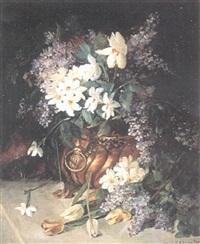 stilleben med syrener och pingstliljor by anna billing