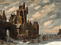 view of a city in winter by thomas heeremans