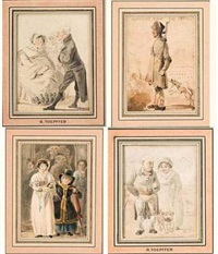 scènes populaires (set of 8 ) by rodolphe töpffer