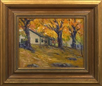 autumn landscape with cabins by arthur j. hammond