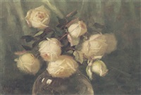 white roses in a glass vase by albert ames