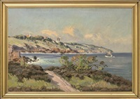 a mediterranean coastal landscape with a boat offshore by corelli