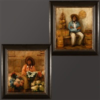 old basket seller (+ flowers for sale; 2 works) by frederick almond zimmerman