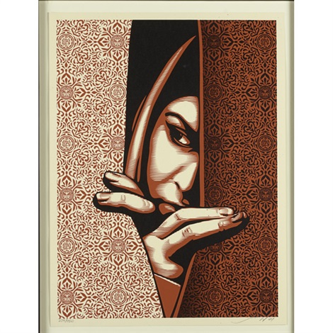 freedom to lead, compassion, untitled (woman) (3 works) by shepard fairey