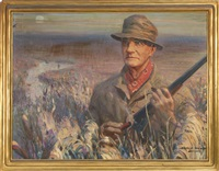 portrait of hunter, likely leander raymond, holding a recently fired winchester model 21 by harold matthews brett
