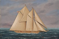 a two-masted schooner at sea by thomas h. willis