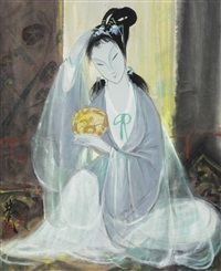 lady with a mirror by lin fengmian