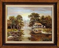 cabin in the louisiana bayou landscape by al federico