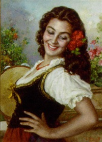ung italienerinde med tambourin by luigi amato