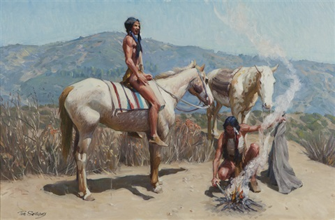 apache indians with horses by tim solliday