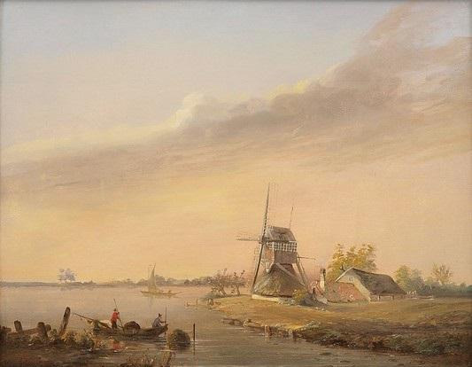 niederländische landschaft mit am ufer stehenden windmühlen und gehöften by simon van gelderen