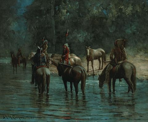indians fording a stream at twilight by astley david middleton cooper