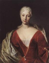 porträt einer jungen frau im roten kleid by johann rudolf huber the elder