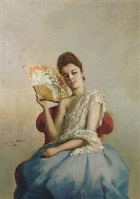 portait einer jungen dame im ballkleid mit fächer by maurice weber