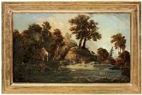romantiskt flodlandskap med figurer by jonas carl linnerhielm