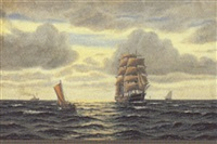 marine, skibe på havet by axel bulow