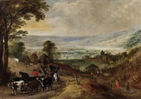 wide mountain landscape with returning herd by joos de momper the younger