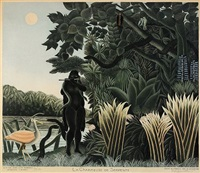 la charmeuse de serpents (by r. lacourière) by henri rousseau