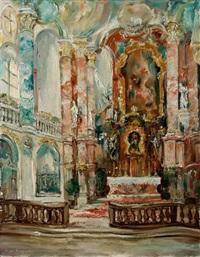blick auf den altar in der wies-kirche. in pastoser manier by wilhelm (willi) pfefferle