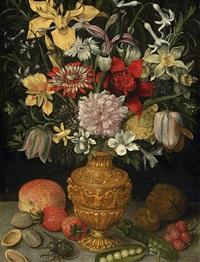 blumenstrauss in manieristischer vase by georg flegel