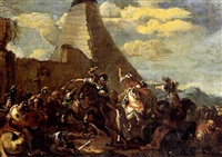 mittelalterliches städtchen am fluss mit strauwehr und holzflösser by carl röchling