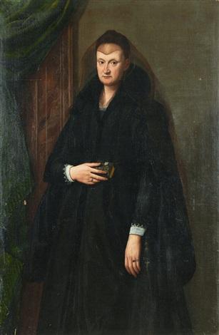 kvinna i änkedok by alessandro di cristofano allori