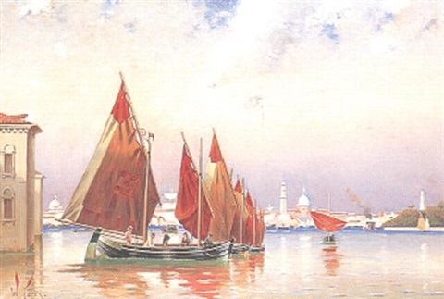 segelbåtar på lagunen motiv från venedig by william feron