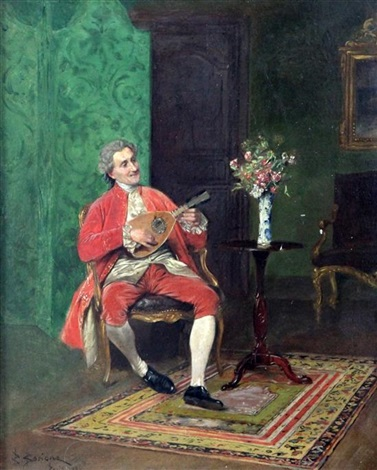 interior with gentleman playing a mandolin by bernard louis borione