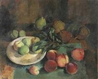 stilleben mit pfirsichen und birnen by alexander posch