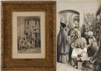 scène de bazar à constantinople (+ notables libanais; pair) by camille rogier